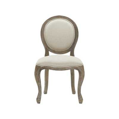 MARGOT UPHOLSTERED DINING SIDE CHAIR IN LINEN NATURAL AND WEATHERED - Arhaus