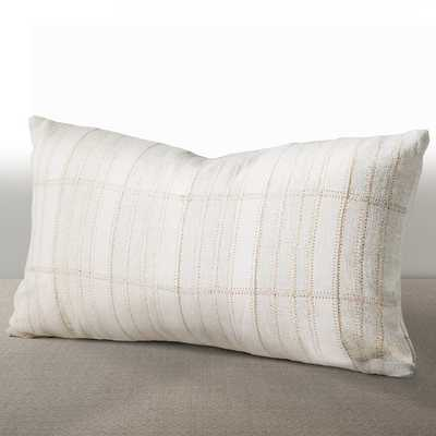 "Chauran Cordova Ivory Linen/ Suede Down and Feather Filled Lumbar Pillow, 10""x18"" - Overstock"