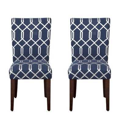 HomePop Navy Blue Cream Lattice Elegance Parson Chairs (Set of 2) - Overstock