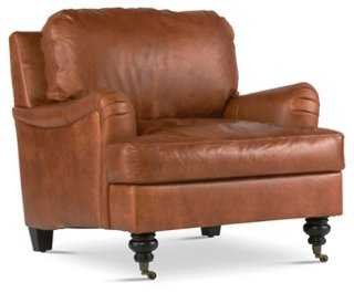 Percy Leather Chair, Umber - One Kings Lane