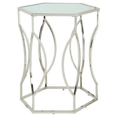 Davlin Hexagonal Metal Frosted-glass Accent End Table - Overstock