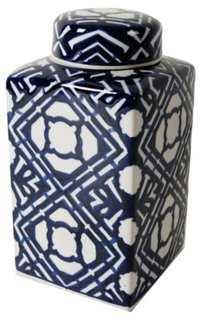 "10"" Ceramic Jar w/ Lid, Blue/White - One Kings Lane"