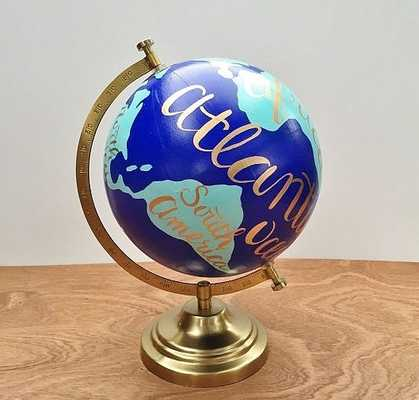 Hand painted globe, world globe, hand lettered travel globe, office decor - Etsy