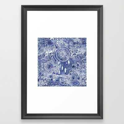 Boho blue dreamcatcher feathers floral illustration - Society6