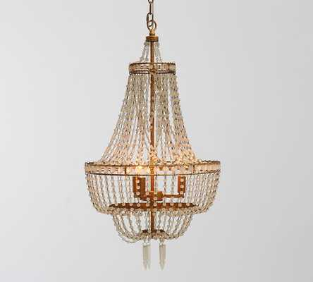 TARYN CHANDELIER, GOLD & FROSTED GLASS - Pottery Barn