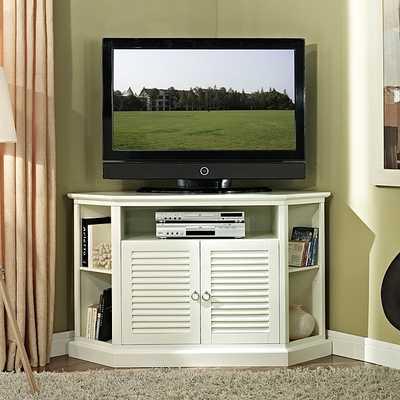 52 in. White Wood Corner TV Stand - Overstock