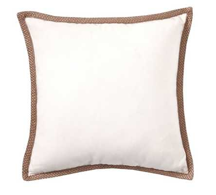 "Synthetic Trim Indoor/Outdoor Pillow - Natural - 20"" Sq. - Polyester insert - Pottery Barn"