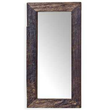 Mawson Rustic Lodge Reclaimed Driftwood Rectangle Mirror - Houzz