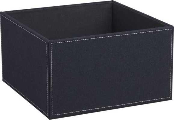 navy felt open storage box - CB2