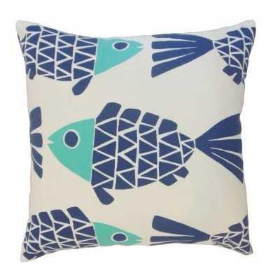 "Edana Graphic Pillow Bluemarine - 20"" x 20"", poly insert - Linen & Seam"