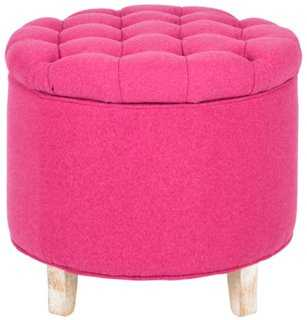 Arabella Tufted Storage Ottoman, Pink - One Kings Lane