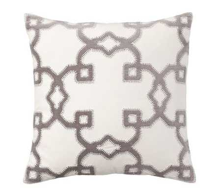 "TRELLIS VELVET APPLIQUA - PILLOW COVER - 20"" sq. - Gray - Insert sold separately - Pottery Barn"