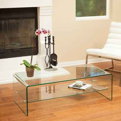 Christopher Knight Home Ramona Glass Coffee Table with Shelf - Overstock