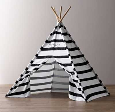 printed canvas black & white teepee tent - RH Baby & Child