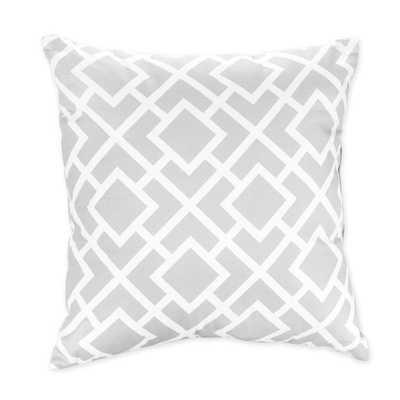 Diamond Decorative Throw Pillow - Grey, White - 16x16 - wiyh insert - Overstock