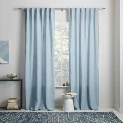 "Belgian Flax Linen Curtain + Blackout Lining - Moonstone- 124""l x 48""w. - West Elm"