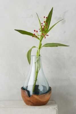 Teak & Bottle Vase - Large - Anthropologie