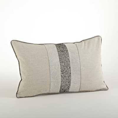 "Beaded Design Throw Pillow - Natural -  12""x20"" - Down fill - Overstock"