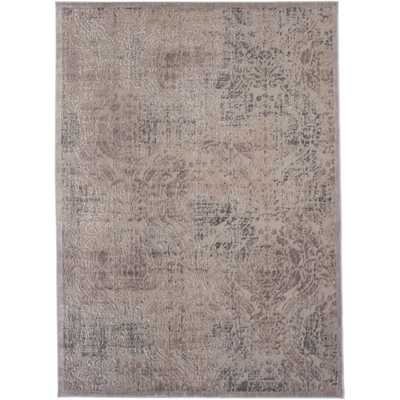 Nourison Graphic Illusions Grey Antique Damask Pattern Rug (7'9 x 10'10) - Overstock