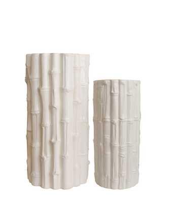 White Ceramic Bamboo Vases - SMALL - High Street Market