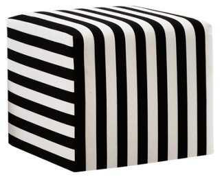 Baker Ottoman, Black/White Stripe - One Kings Lane