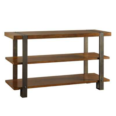 TRIBECCA HOME Lawson Brass and Reclaimed Wood TV Stand - Overstock