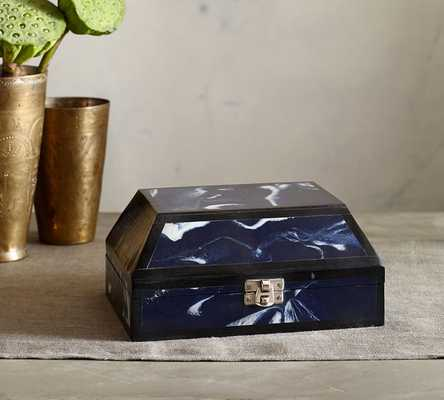 INDIGO MARBLED DECOUPAGE BOX - Pottery Barn