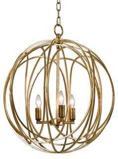 3-Bulb Gold Ofelia Chandelier - One Kings Lane