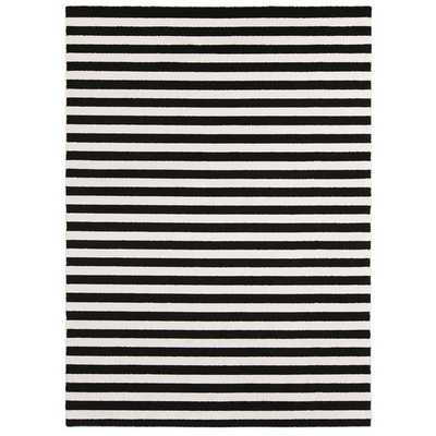 "Meticulously Woven Reze Casual Striped Area Rug (7'10"" x 10'3"")-Charcoal/Ivory - Overstock"