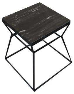 Geo Side Table, Black/Black Marble - One Kings Lane