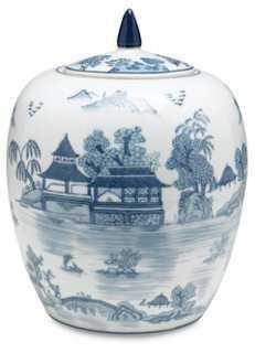 """10"""" Willow Jar, Blue/White - One Kings Lane"""