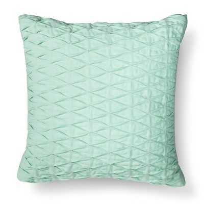 Pleated Diamond Decorative Pillow - Aqua Green - 18 X 18 - Polyester fill insert - Target