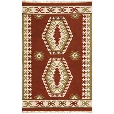 Hand Woven Double Diamond Wool Flat Weave (9 x 12) - Overstock