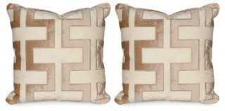 S/2 Carioca 20x20 Pillows, Travertine - One Kings Lane