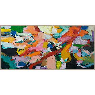 "Brush of Color Abstract Giclée Framed Painting Print - 21.65"" H x 45.28"" W x 1"" D - AllModern"