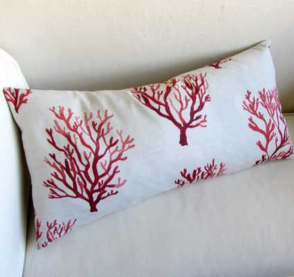 CORAL decorative designer pillow insert included - Etsy