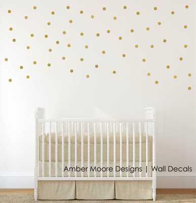 Gold Polka Dot Wall Decals - Confetti Polka Dot Wall Decals - Etsy