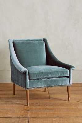 Slub Velvet Tillie Armchair- Caribbean-Removable blend down cushion - Anthropologie
