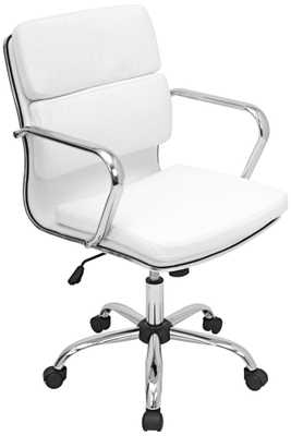 Bachelor Chrome and White Office Arm Chair -White - Lamps Plus