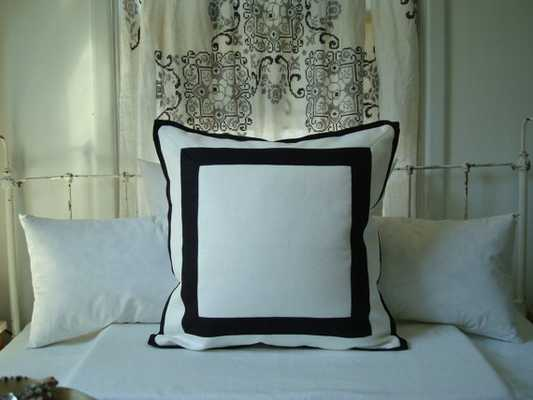 """White and Black Border Reversible Pillow Cover - 20"""" x 22"""" - Insert sold separately - Etsy"""