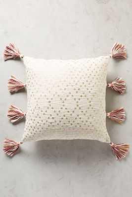 "Tasseled Pointilliste Pillow- 18"" x 18""- Gold- Polyfill insert - Anthropologie"