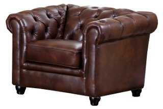 Royal Tufted Leather Club Chair - One Kings Lane