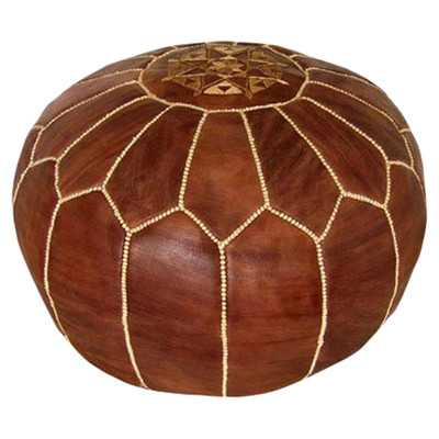 Moroccan Leather Pouf Ottoman - Brown - Wayfair