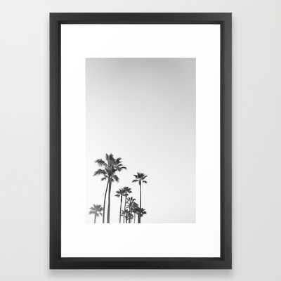 "Black and White California Palms - FRAMED ART PRINT/ VECTOR BLACK SMALL (15"" X 21"") - Society6"