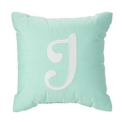 'J' Typeset Throw Pillow - Land of Nod