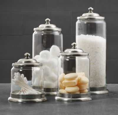 APOTHECARY PEWTER & GLASS BATH JARS-Medium - RH