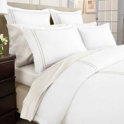 Wamsutta® Baratta Stitch MicroCotton® Duvet Cover in Gold - Bed Bath & Beyond