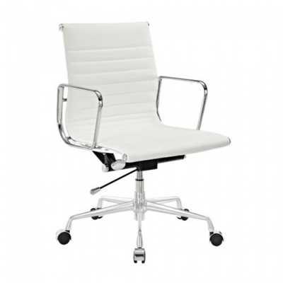 Eames Style Management White Top Grain Leather Designer Office Chair - emoderndecor.com