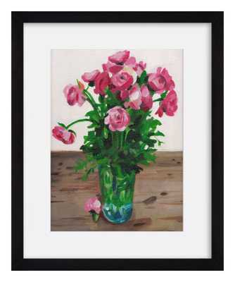 "Flowers-14""x12""-Black Frame - Domino"