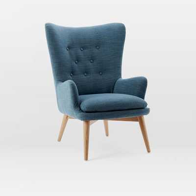 Niels Wing Chair - Regal Blue (Linen Weave) - West Elm